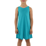 Weekend Vibes Girls Jersey V-Back Dress in Teal