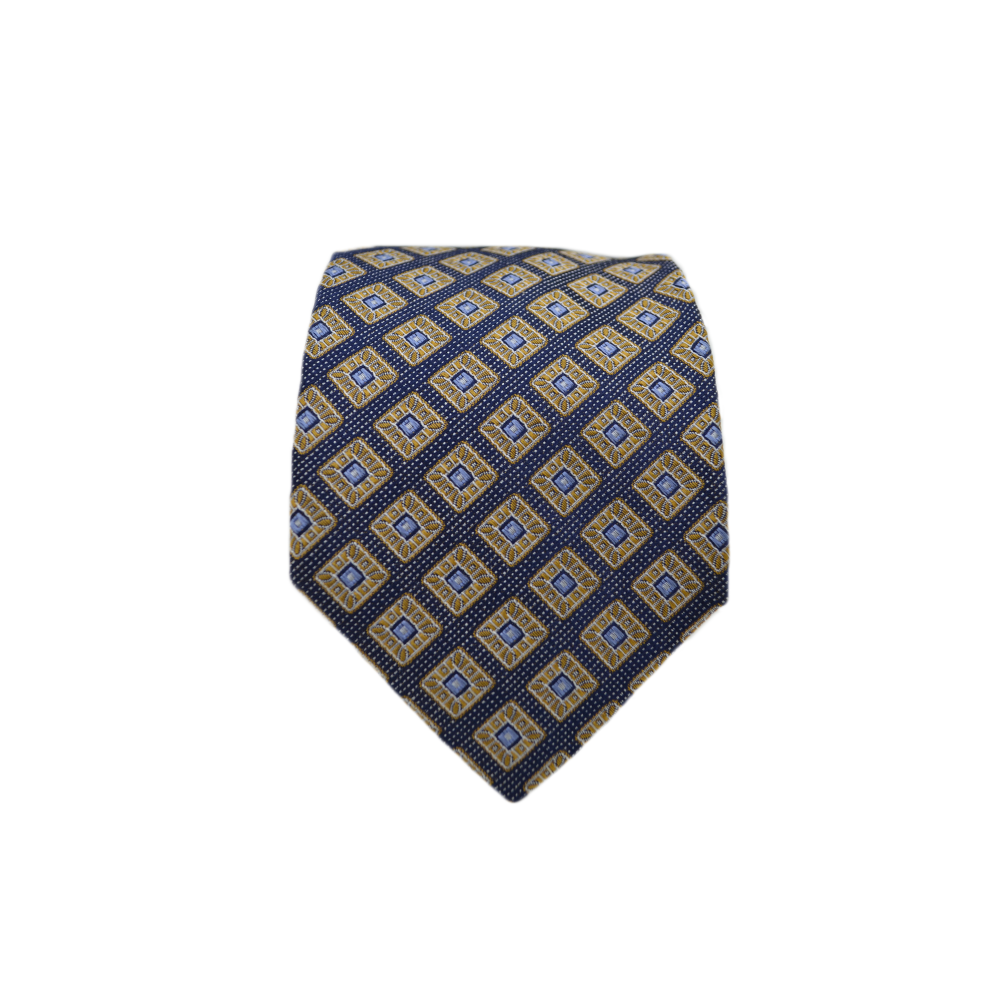 Mens Giannini Silk Neck Tie in Yellow and Navy - Brother's on the Boulevard
