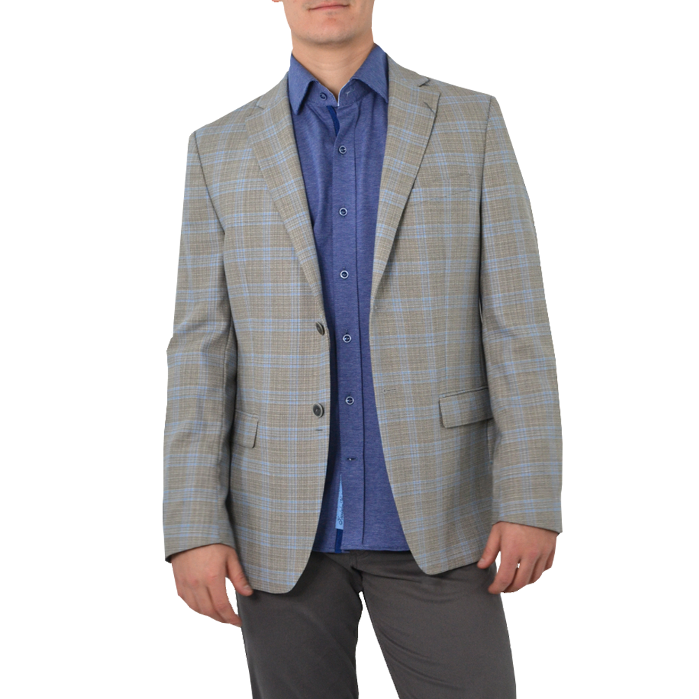 Michael Kors Keith Blazer in Tan/Blue Plaid