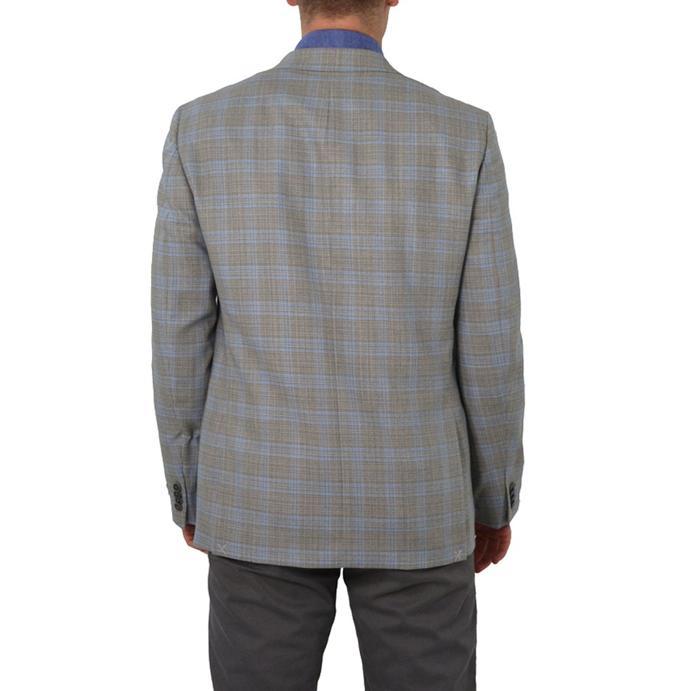 Mens Michael Kors Keith Blazer in Tan/Blue Plaid - Brother's on the Boulevard