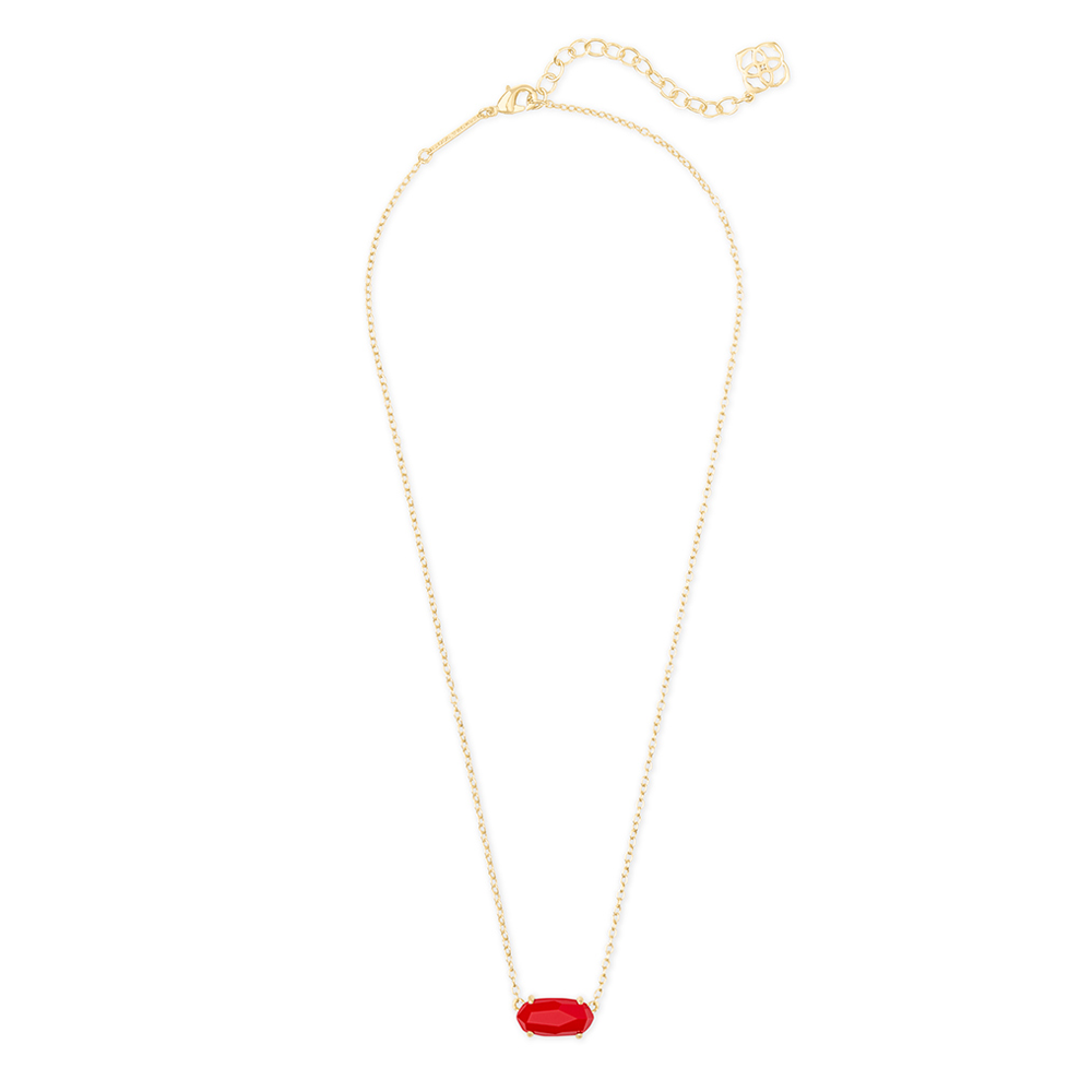 Womens Kendra Scott Ever Gold Pendant Necklace in Bright Red - Brother's on the Boulevard