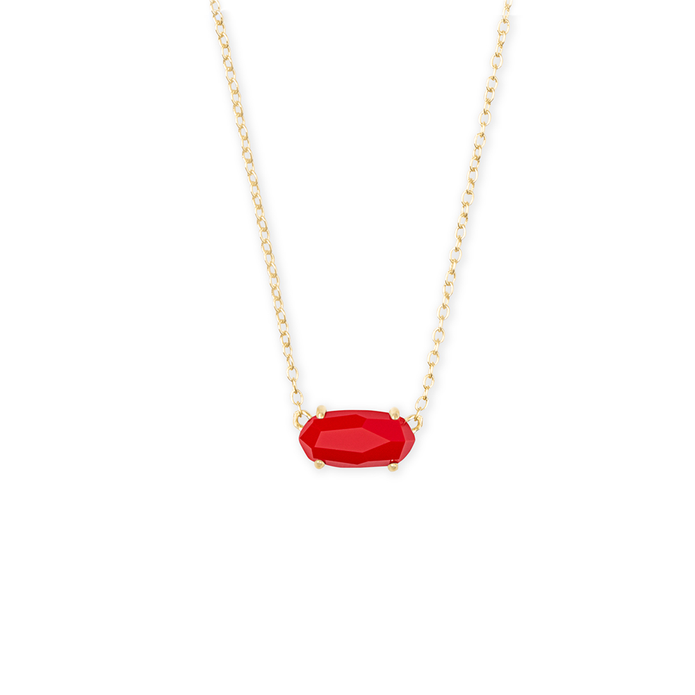 Kendra Scott Ever Gold Pendant Necklace in Bright Red