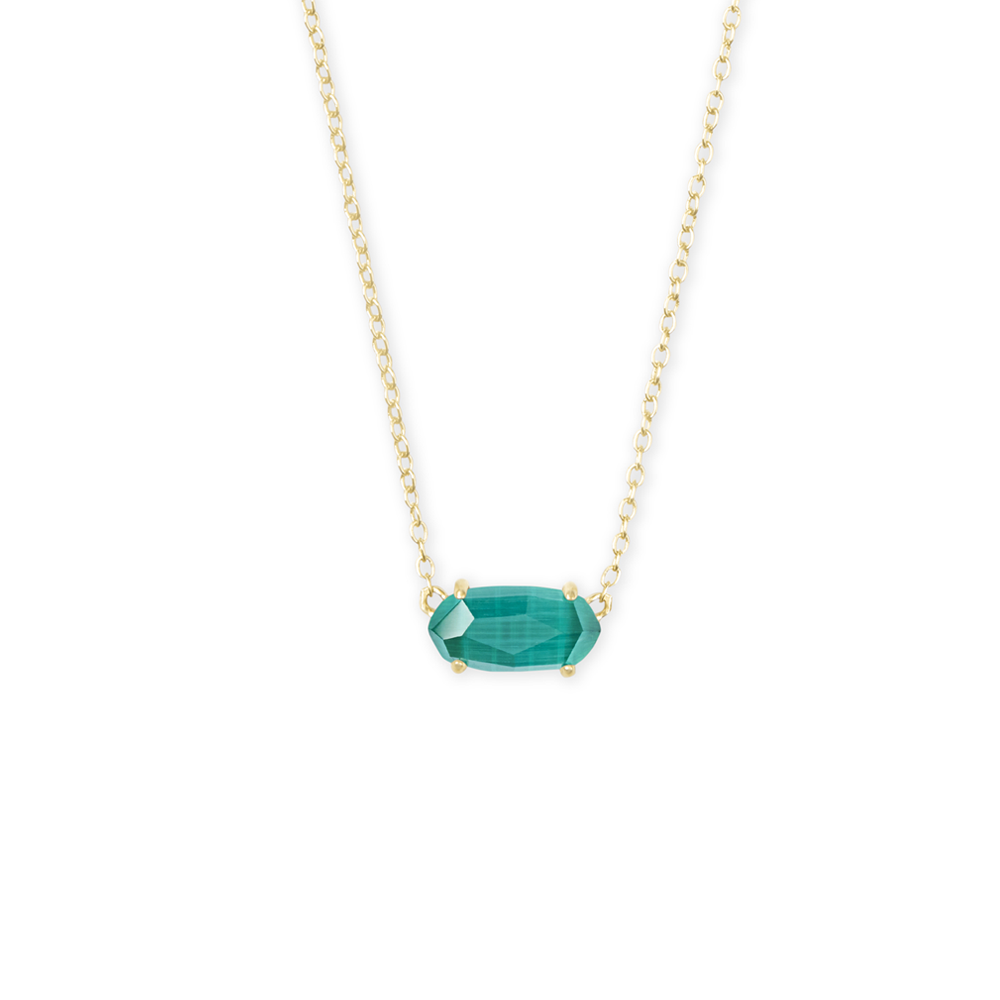 Kendra Scott Ever Gold Pendant Necklace in Emerald Cat's Eye