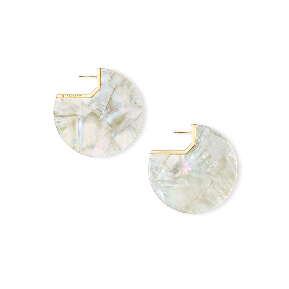 Kendra Scott Kai Gold Hoop Earrings in Ivory Mother of Pearl