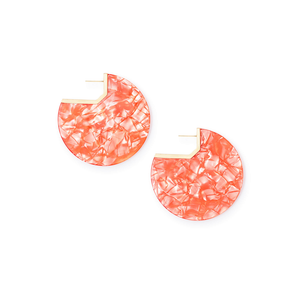Womens Kendra Scott Kair Gold Hoop Earring in Peach Acetate - Brother's on the Boulevard