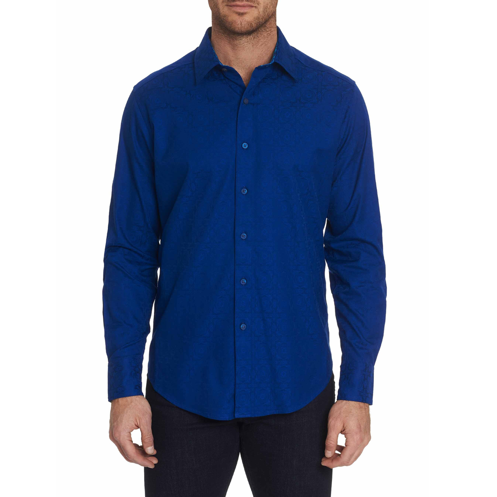 Mens Robert Graham Keaton Regular Fit Button-Up Sport Shirt in Blue - Brother's on the Boulevard