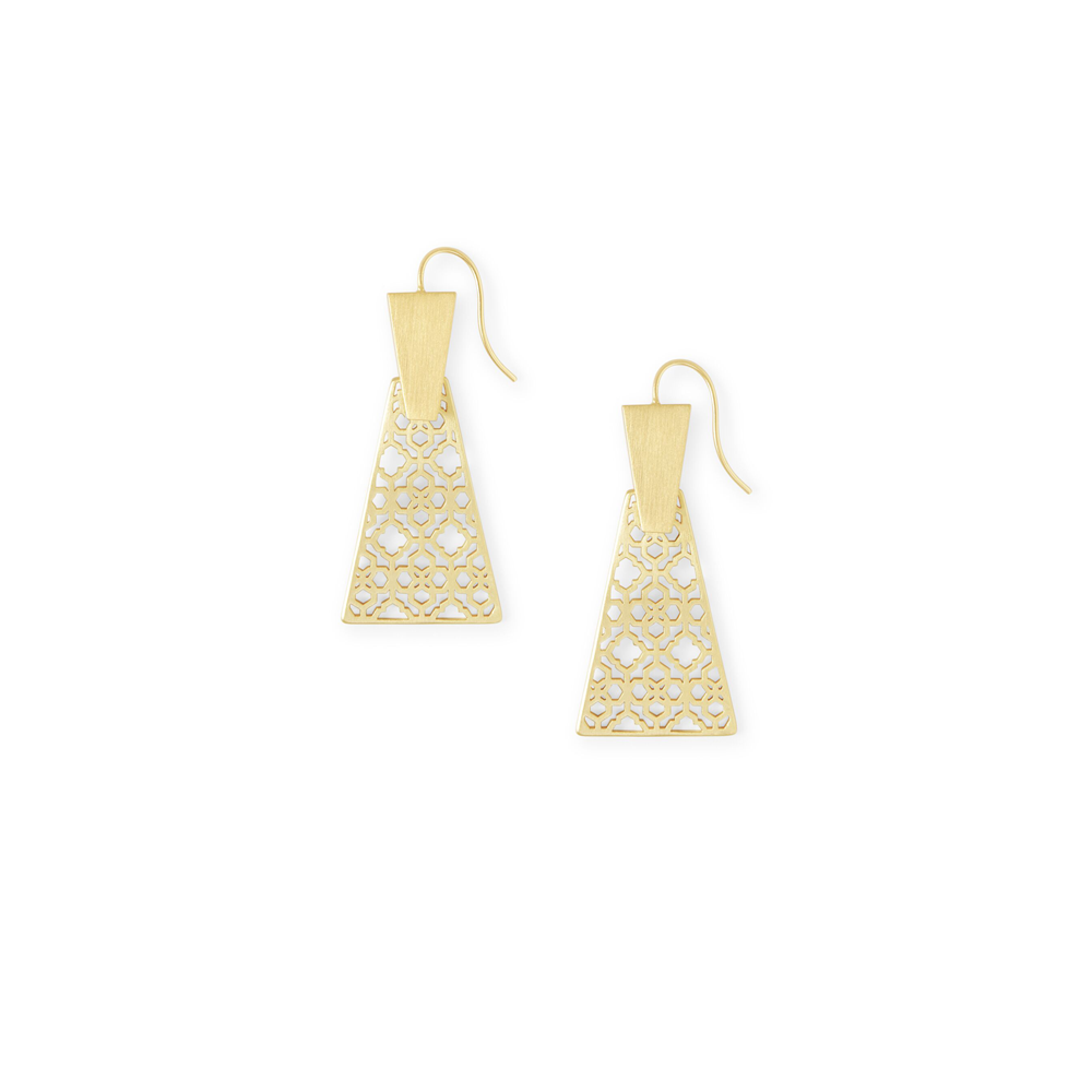 Womens Kendra Scott Keerti Drop Earrings In Gold Filigree - Brother's on the Boulevard