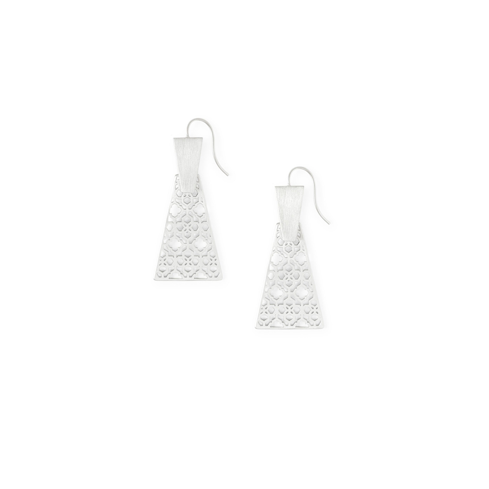 Womens Kendra Scott Keerti Drop Earrings In Bright Silver Filigree - Brother's on the Boulevard