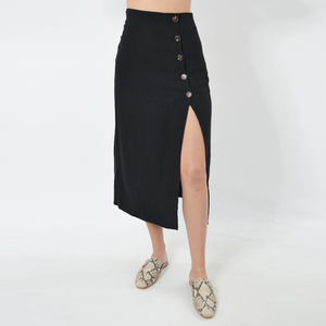 Womens Rouge Button Iris Side Slit Skirt in Black - Brother's on the Boulevard