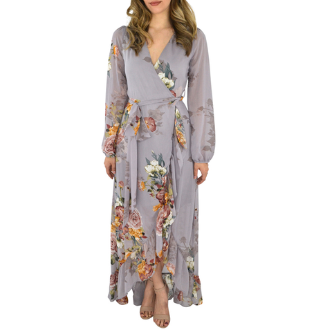 Womens Catherine Kate Chiffon Wrap Maxi Dress in Lavender - Brother's on the Boulevard