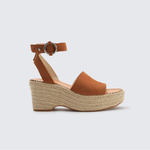 Womens Dolce Vita Lesly Buckle Clasp Suede Wedge in Saddle - Brother's on the Boulevard