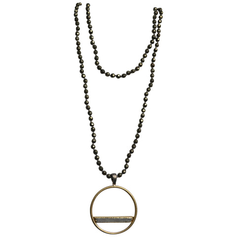 Womens Tricia Ryan Pyrite Necklace with Gold Drusy Circle Bar - Brother's on the Boulevard