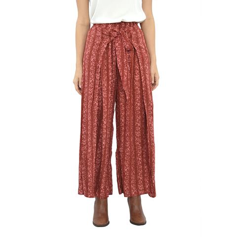 Rouge Split Front Pant in Brick and Cream