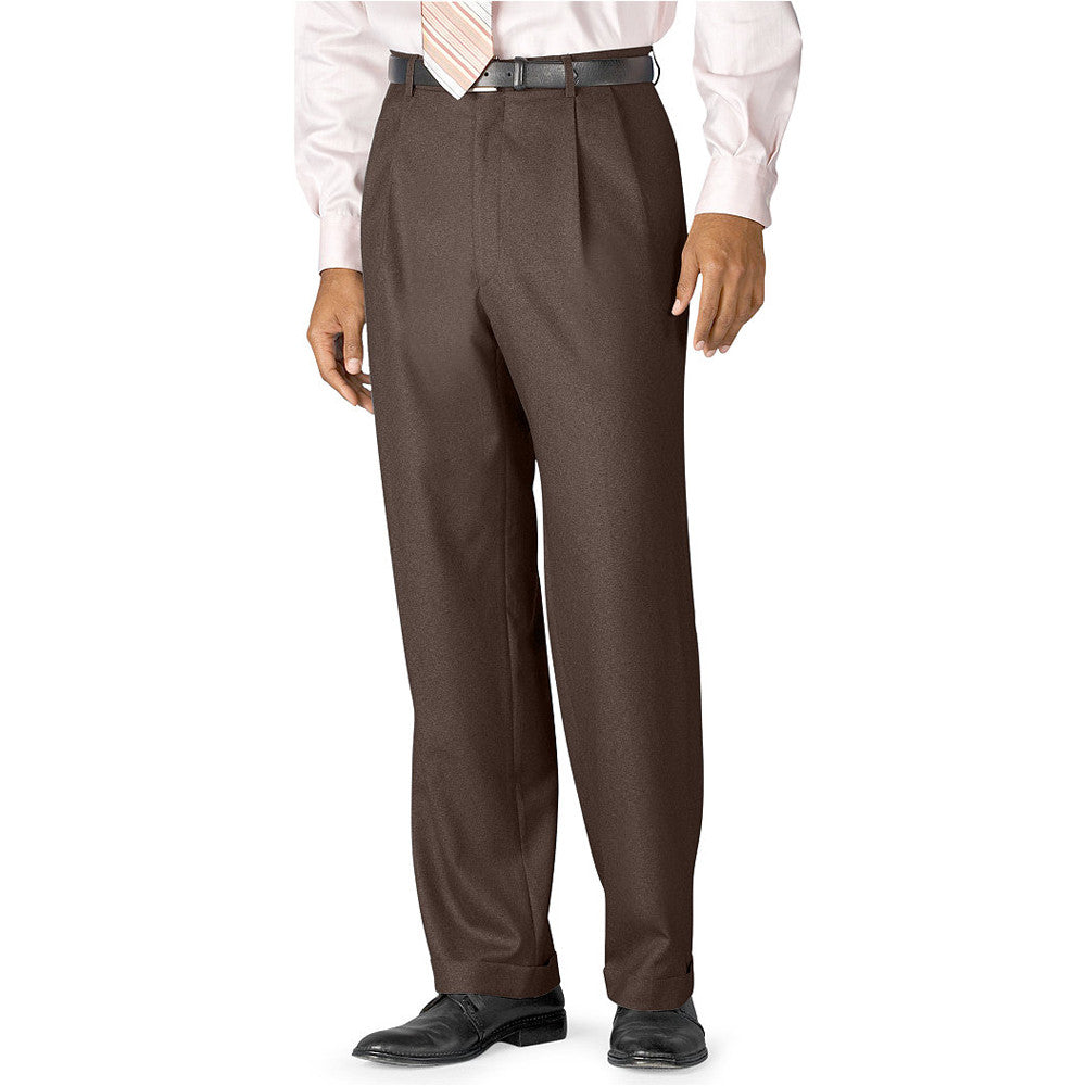 Mens Lauren by Ralph Lauren Wool Pleated Trousers in Light Brown - Brother's on the Boulevard