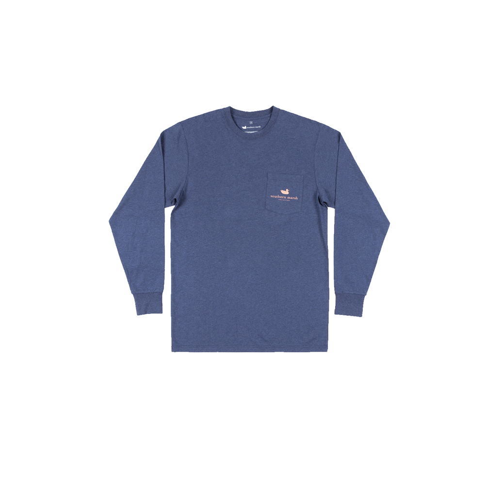 Mens Southern Marsh Vistas Egret Long Sleeve Tee in Washed Navy - Brother's on the Boulevard