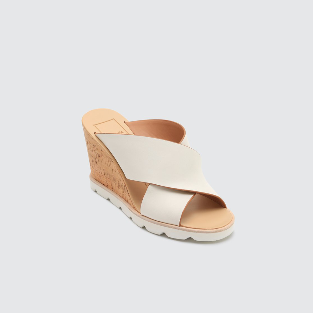 Dolce Vita Lida Cork Wedge Sandal in White