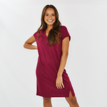 Lilla P. Lightweight Double V-Neck Dress in Summer Plum