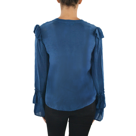 Maven West Long Sleeve Waffle Top in Sapphire