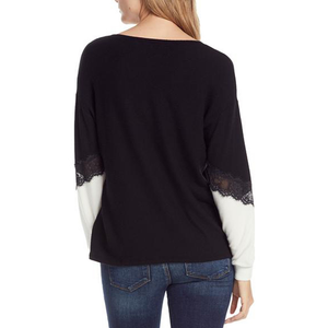Womens Michael Stars Long Sleeve Soft V Neck with Lace Knit Top in Black - Brother's on the Boulevard