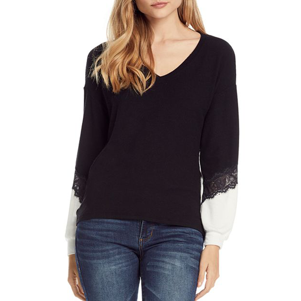 Michael Stars Long Sleeve Soft V Neck with Lace Knit Top in Black
