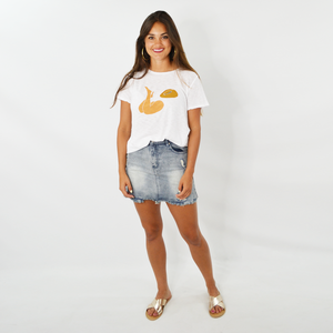 Womens Rouge Tanning Cheeks Graphic Tee in White - Brother's on the Boulevard