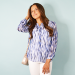 Nic + Zoe Galling Petals Top in Blue Multi
