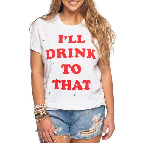 Womens Rouge I'll Drink To That Tee in Red and White - Brother's on the Boulevard