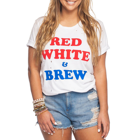 Womens Rouge Red White and Brew Tee in Red, White, and Blue - Brother's on the Boulevard