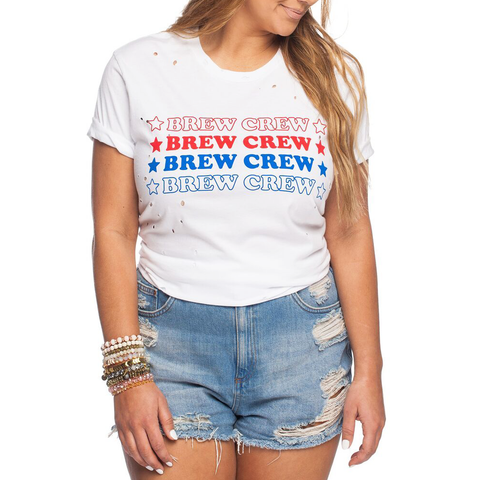 Womens Rouge Brew Crew Tee in Red, White, and Blue - Brother's on the Boulevard