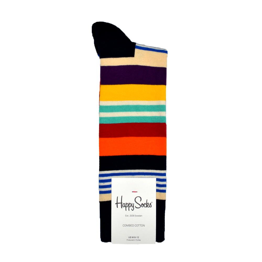Happy Socks Multi Stripe Print in Orange, Yellow, and Aqua