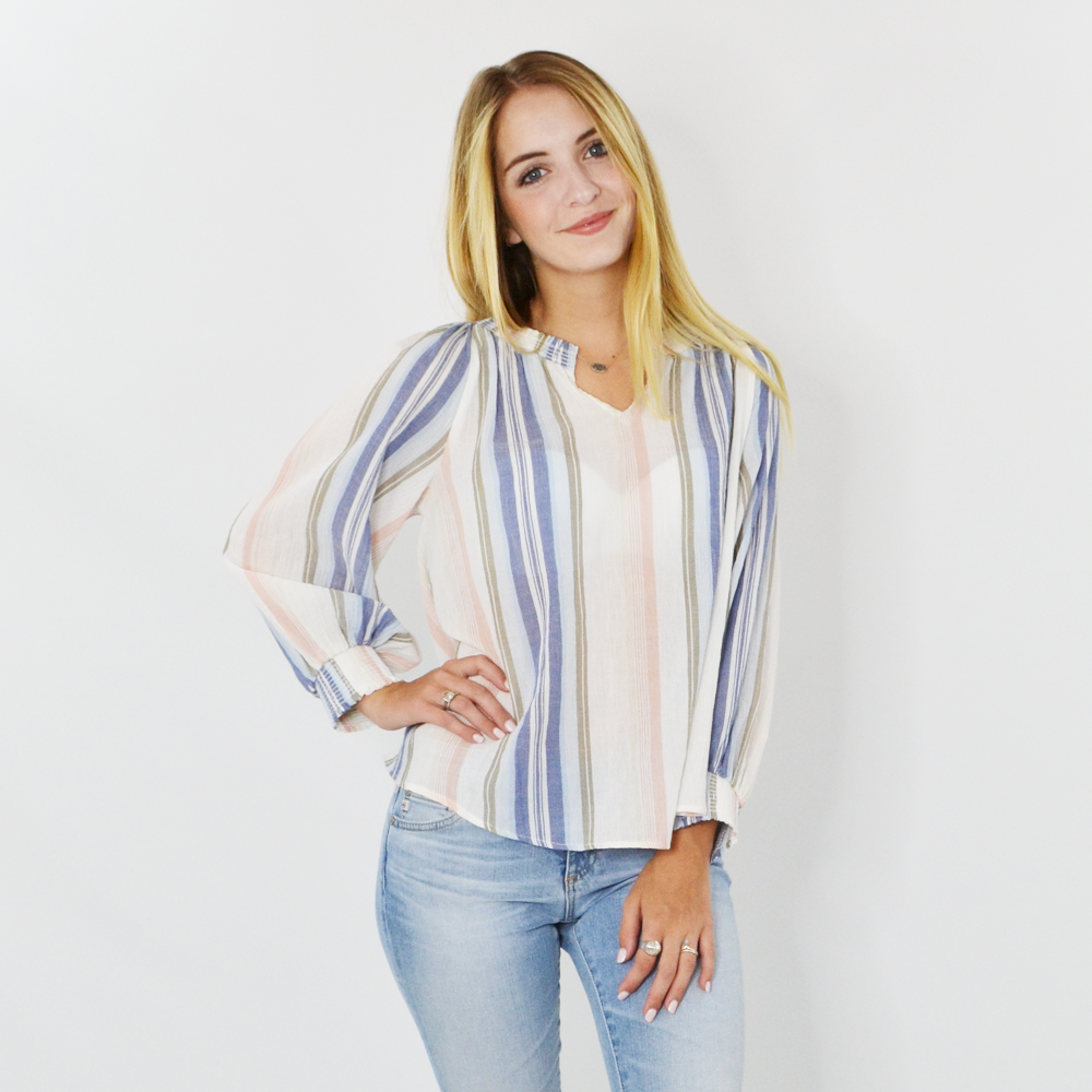 Womens Michael Stars Emerson Smocked Peasant Top in Stonewash - Brother's on the Boulevard