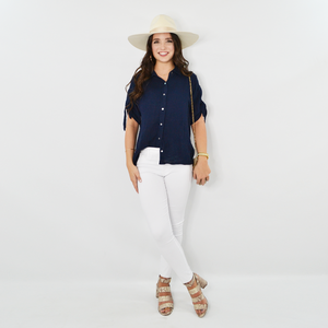 Womens Michael Stars Tess Gauze Button Down Top in Admiral - Brother's on the Boulevard