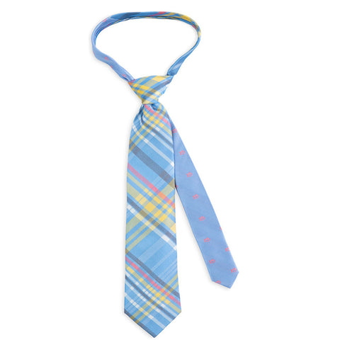 Southern Tide Madras Plaid Necktie in Sky