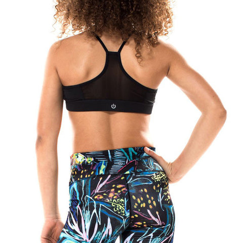 Miss Behave Girls Maggie Tropical Sports Bra in Black and Multi