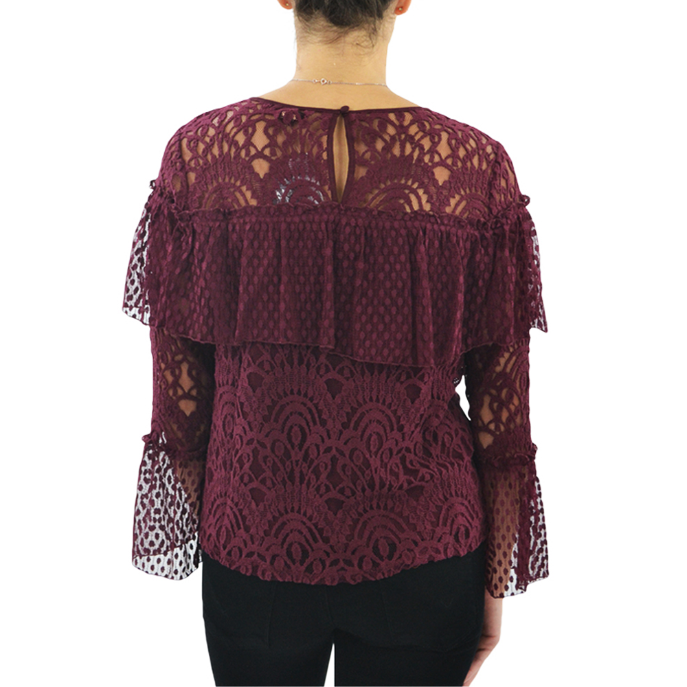 Womens Ella Moss Mixed Lace Blouse in Burgundy - Brother's on the Boulevard