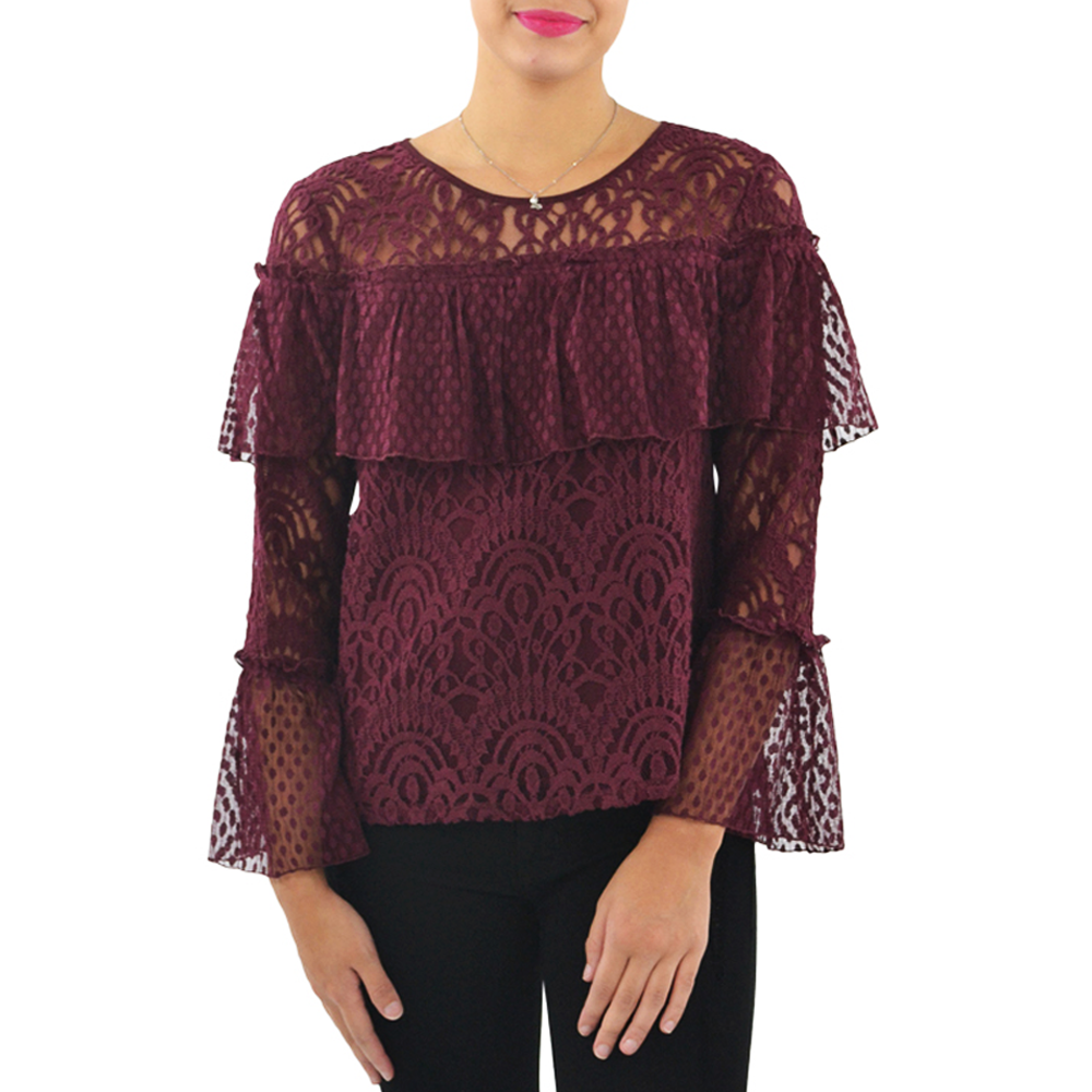 Ella Moss Mixed Lace Blouse in Burgundy