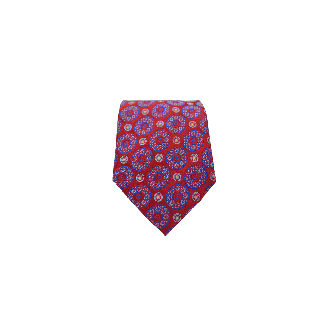 Mens Brother's On The Boulevard Multi-Medallion Handmade Necktie in Red and Royal Blue - Brother's on the Boulevard