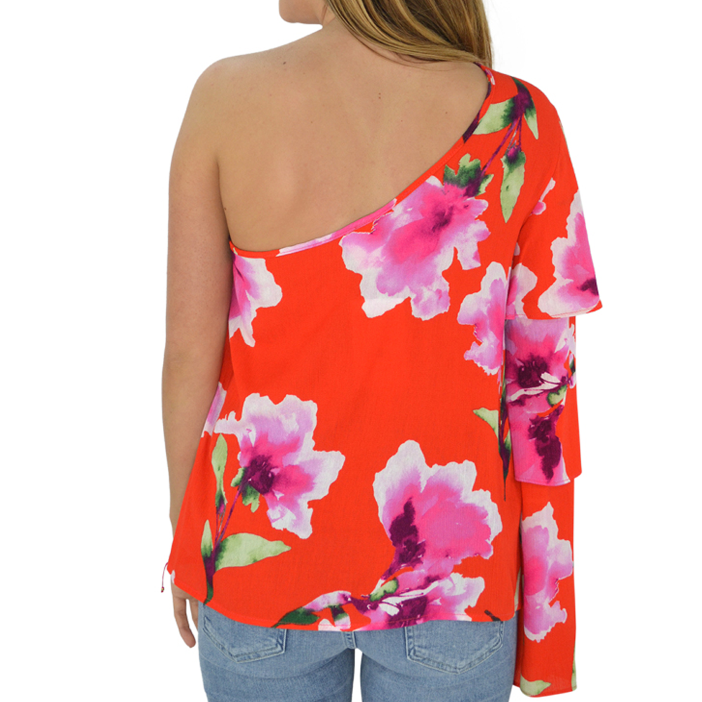 Womens Weekend Vibes One Shoulder Tier Sleeve in Red - Brother's on the Boulevard