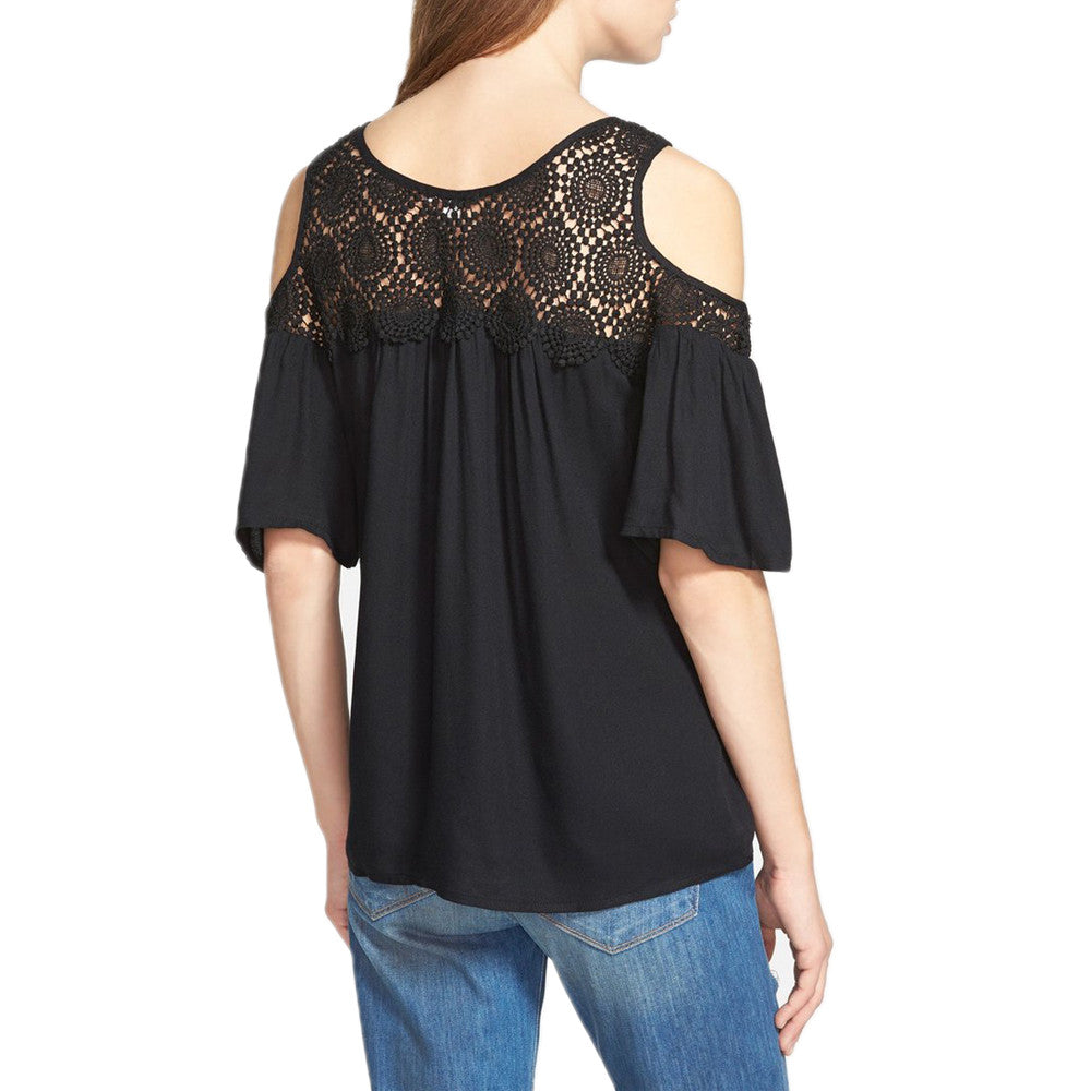 Womens Ella Moss Noa Cold Shoulder Blouse in Black - Brother's on the Boulevard
