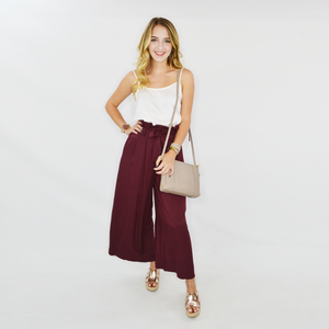 Womens NYLA Roxie Ruffle Tie Front Pant in Burgundy - Brother's on the Boulevard