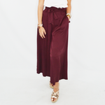 NYLA Roxie Ruffle Tie Front Pant in Burgundy