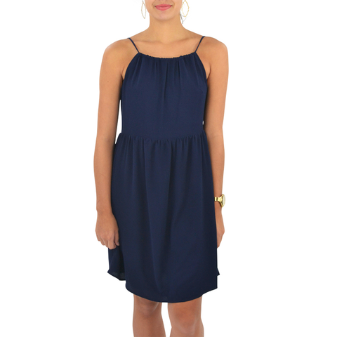 Womens Poche 1913 High Neck Dress in Navy - Brother's on the Boulevard