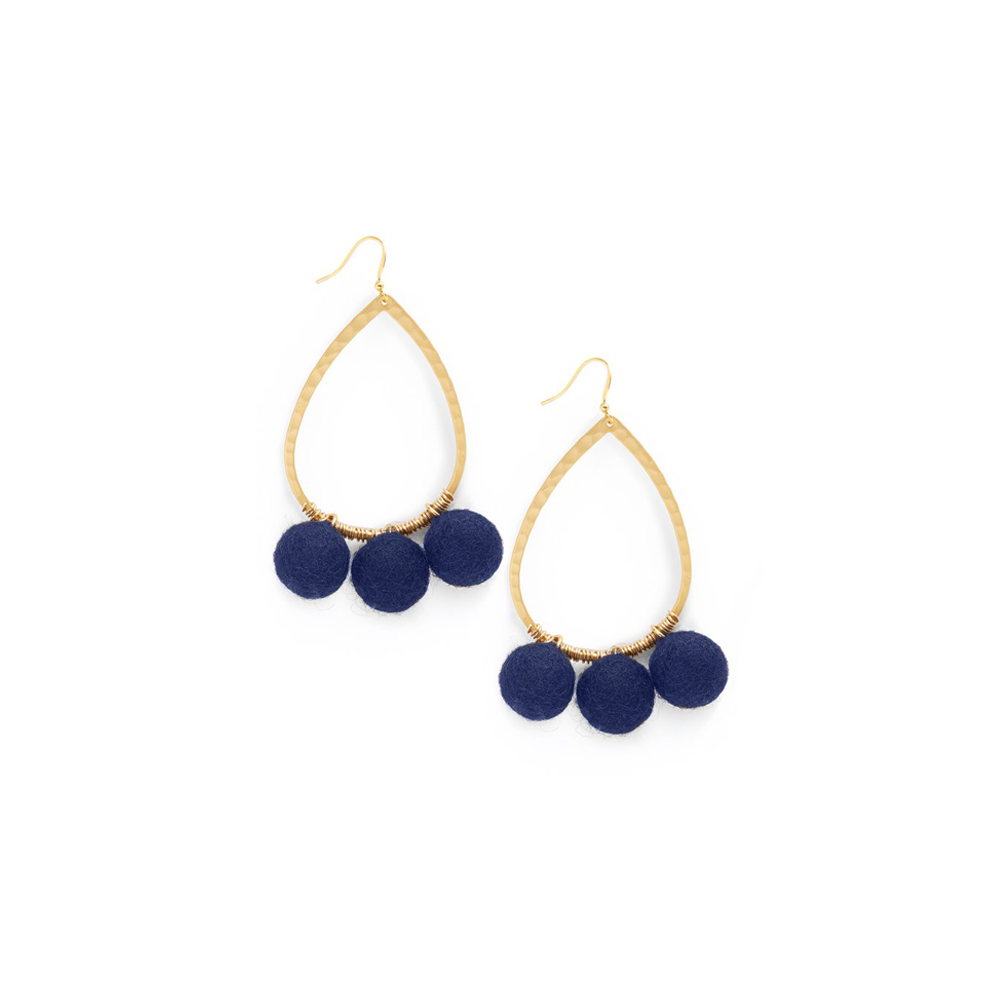 Womens Ever Alice Studio Pom Pom Hoops in Navy - Brother's on the Boulevard