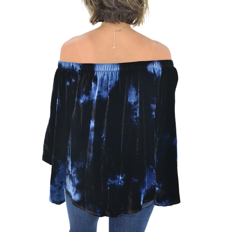 Fifteen Twenty Off The Shoulder Velvet Top In Tie Dye