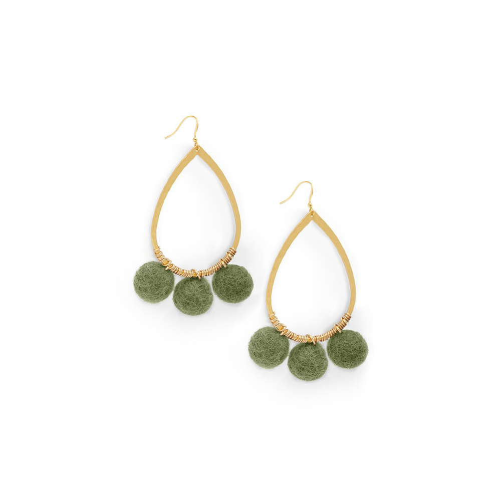 Womens Ever Alice Pom Pom Hoops in Olive - Brother's on the Boulevard
