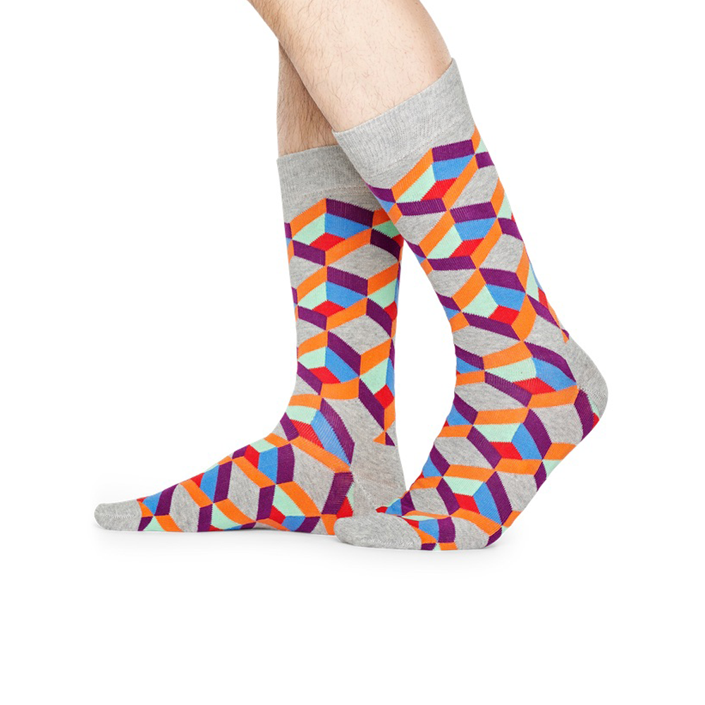 Happy Socks Optic Square Sock in Grey and Orange
