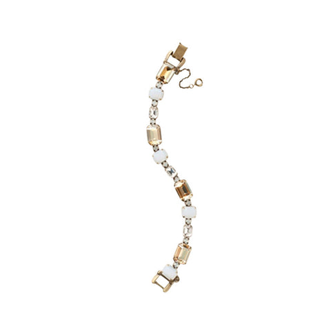 Womens Sorrelli Alternating Emerald-Cut Crystal Line Bracelet in Riverstone (Antique Gold-Tone finish) - Brother's on the Boulevard