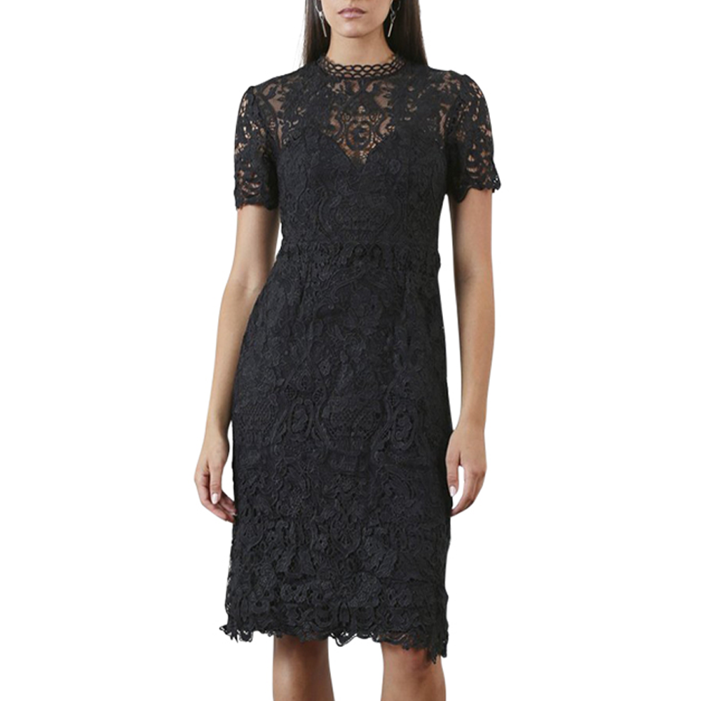 Shilla Ornate Lace Midi Dress in Black