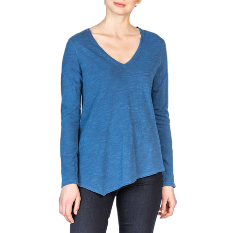 Lilla P. Long Sleeve V-Neck Knit Top in Dutch