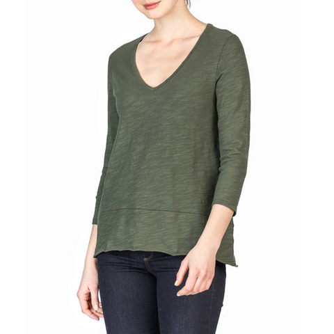 Womens Lilla P. Three Quarter Sleeve V-Neck in Parsley - Brother's on the Boulevard